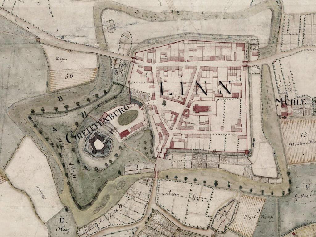 Karte von 1816 aus dem Besitz der Familie de Greiff (Quelle: StA KR 35/537/1 Der Oberbürgermeister, Stadtarchiv Krefeld)