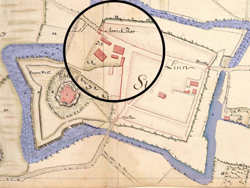 Karte von Linn aus dem Jahr 1788/1789 (Quelle: LAV NRW R, RW Karten, Nr. 2706)
