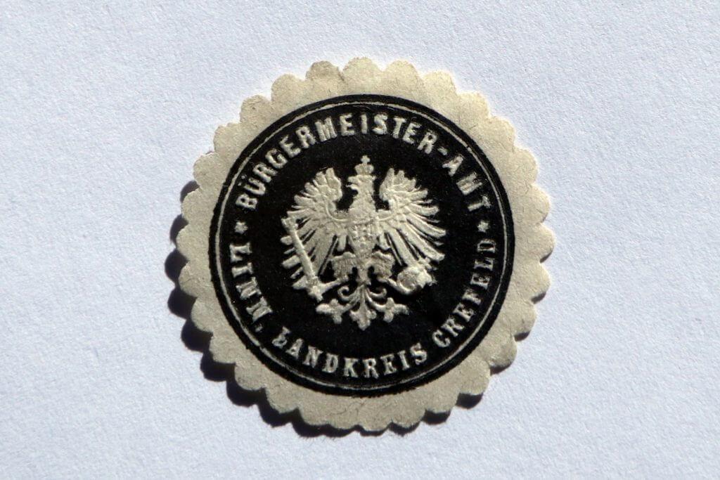 Siegel des Bürgermeisteramtes Linn, Landkreis Krefeld